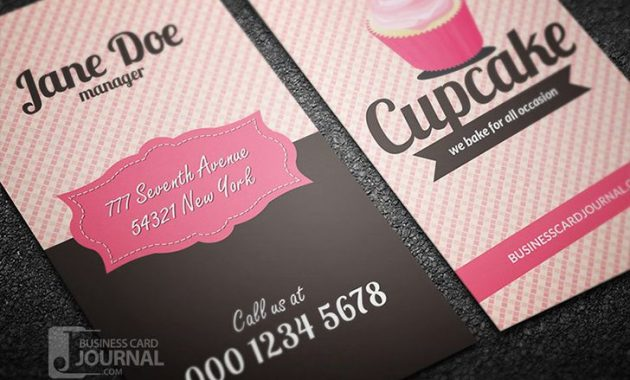 Modern Psd Free Cupcake Business Card Template Designed In throughout Cake Business Cards Templates Free