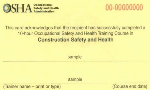 Osha Training Certificate Template Luxury Osha 10 for Osha 10 Card Template
