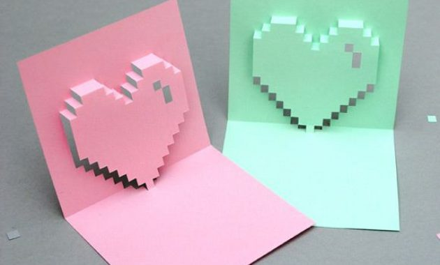Pin On Diy Crafts + Projects with regard to Pixel Heart Pop Up Card Template