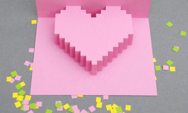 Pixelated Popup Card : 8 Steps (With Pictures) – Instructables in Pixel Heart Pop Up Card Template