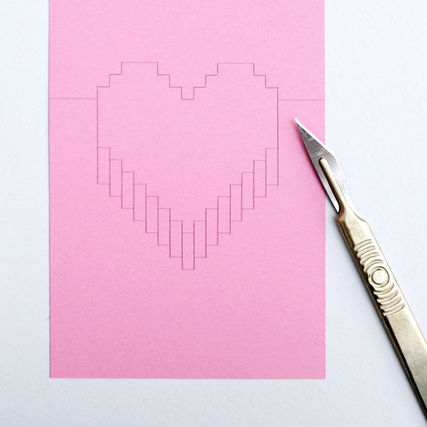 Pixelated Popup Karte With Pixel Heart Pop Up Card Template