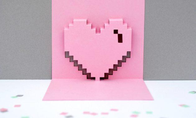 Popup Pixel Valentines Card 2013 (*new & Improved*) | Mini Eco regarding Pixel Heart Pop Up Card Template