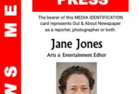 Press Id pertaining to Media Id Card Templates