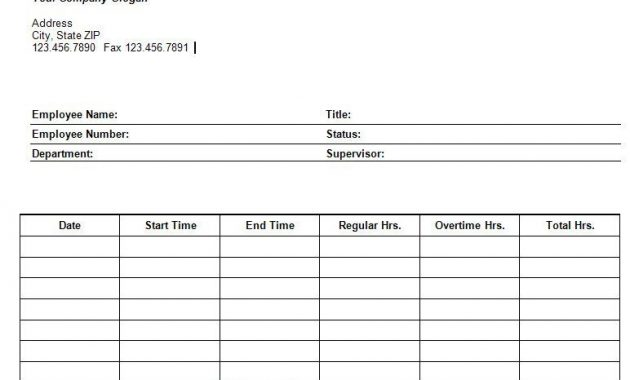 Printable Blank Excel Daily Timesheet | Templates Printable throughout Weekly Time Card Template Free