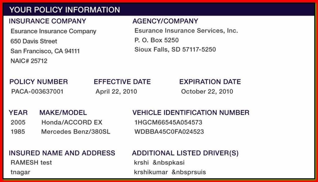 Proof Of Auto Insurance Template Free | State Farm Insurance With Regard To Proof Of Insurance Card Template