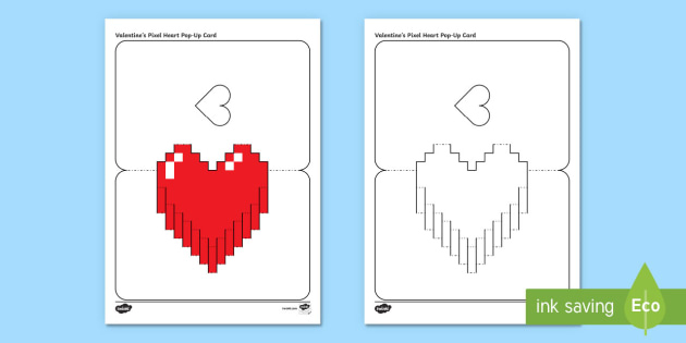 Simple Valentine's Pixel Heart Pop Up Card Paper Craft within Pixel Heart Pop Up Card Template
