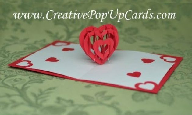 Valentine's Day Pop Up Card Tutorial: 3D Heart throughout 3D Heart Pop Up Card Template Pdf