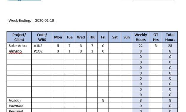 Weekly Timesheet Excel – Gpetrium Performance Improvement regarding Weekly Time Card Template Free