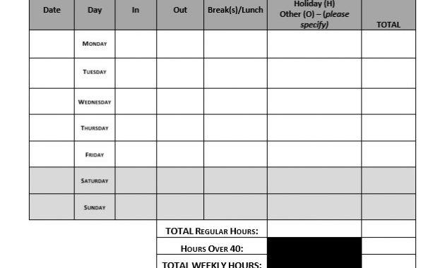 Weekly Timesheet Template – Approveme – Free Contract Templates for Weekly Time Card Template Free
