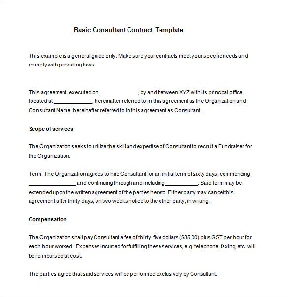 16+ Consultant Contract Templates- Word, Google Docs, Pdf in Awesome How To Make A Business Contract Template
