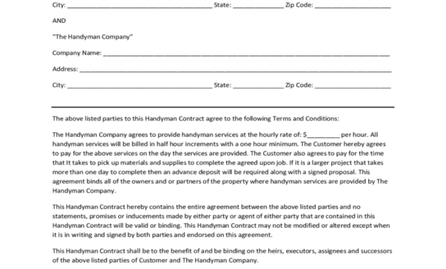 4+ Handyman Contracts – Word Excel Templates regarding How To Make A Business Contract Template