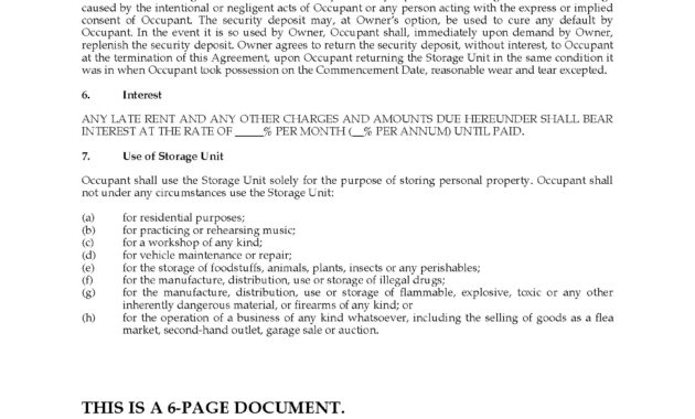 Alberta Self Storage Rental Agreement | Legal Forms And in Fresh Self Storage Business Plan Template