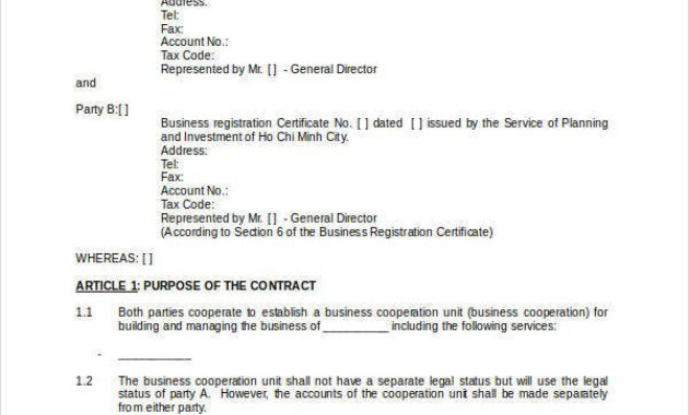 Business Contract Template – 7+ Free Word, Pdf Documents in Awesome How To Make A Business Contract Template