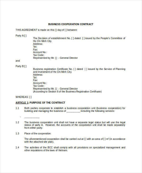 Business Contract Template - 7+ Free Word, Pdf Documents In Awesome How To Make A Business Contract Template