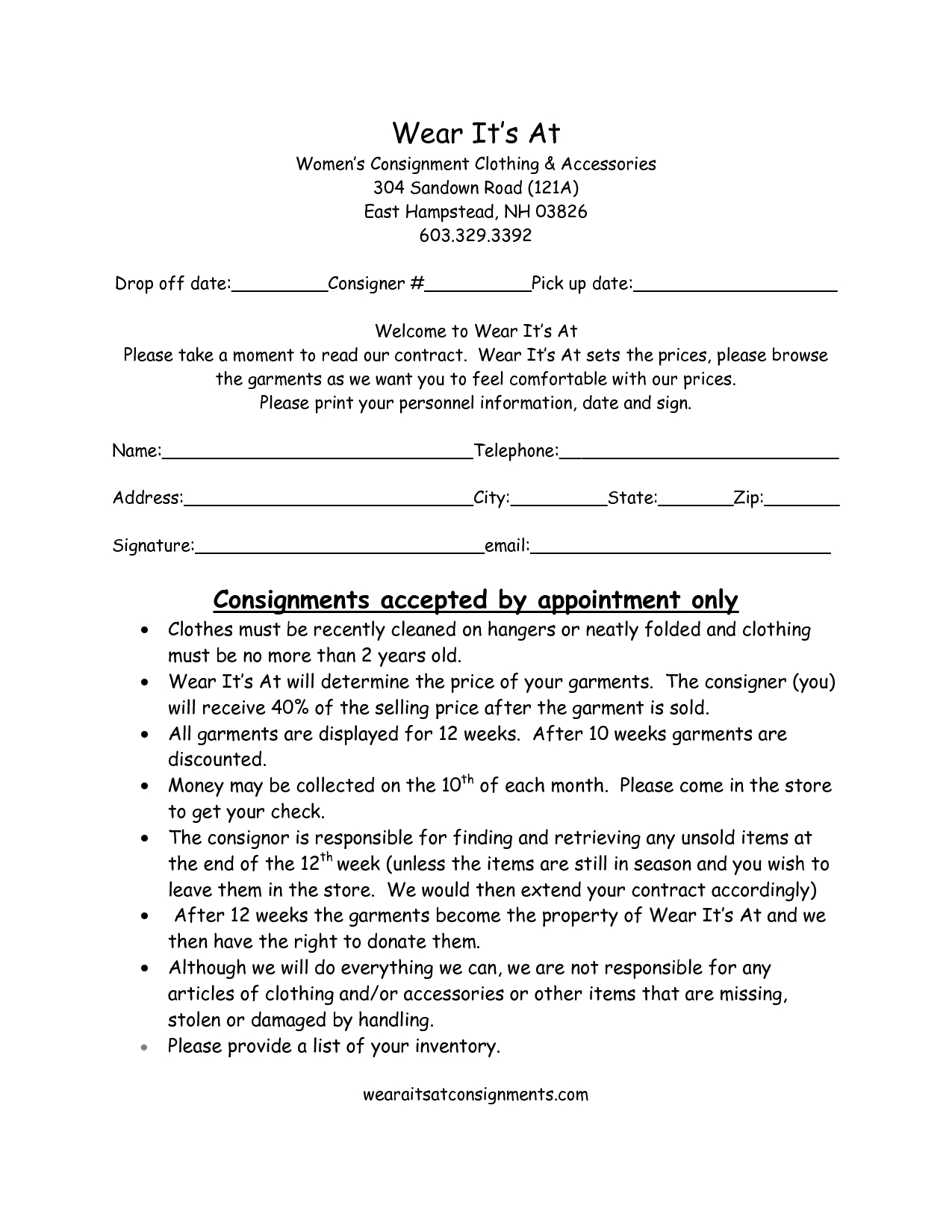 Clothing Consignment Contract Template   Scope Of Work within Clothing Store Business Plan Template Free