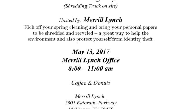 Complimentary Document Shredding Day – Mckinney Online with Fresh Merrill Lynch Business Plan Template