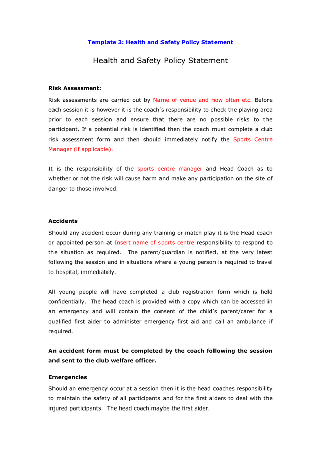 Health And Safety Policy Statement Template In Word And within Amazing Health And Safety Policy Template For Small Business