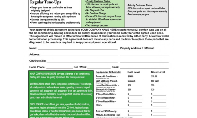 Hvac Maintenance Agreement Form C Terms On Backside Hvac with Free Hvac Business Plan Template