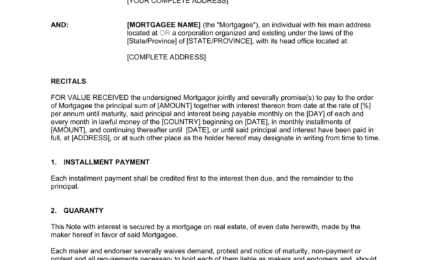 Mortgage Note Template  Business-In-A-Box™ in New Business In A Box Templates