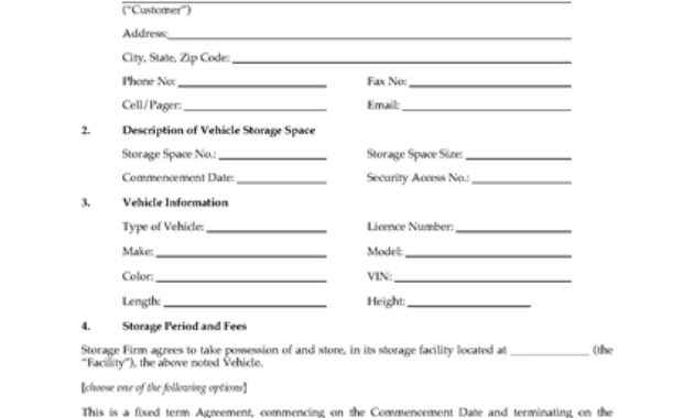 Ohio Vehicle Storage Agreement Form | Legal Forms And for Self Storage Business Plan Template
