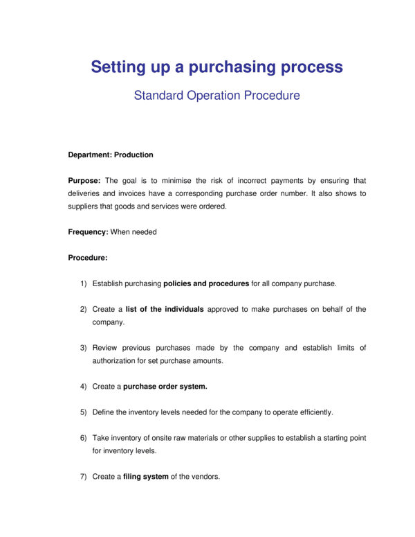 Purchasing Manager Job Description Template - Word & Pdf with New Business In A Box Templates