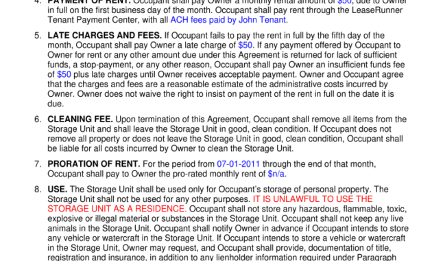Texas Self Storage Lease Agreement – Fill Online for Self Storage Business Plan Template