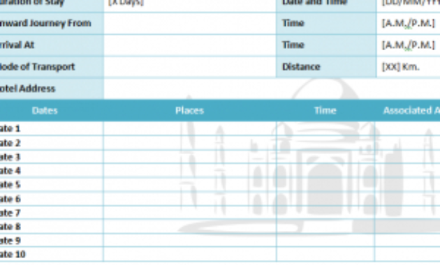 Travel Itinerary Template - My Excel Templates with Awesome 1 Page Business Plan Templates Free