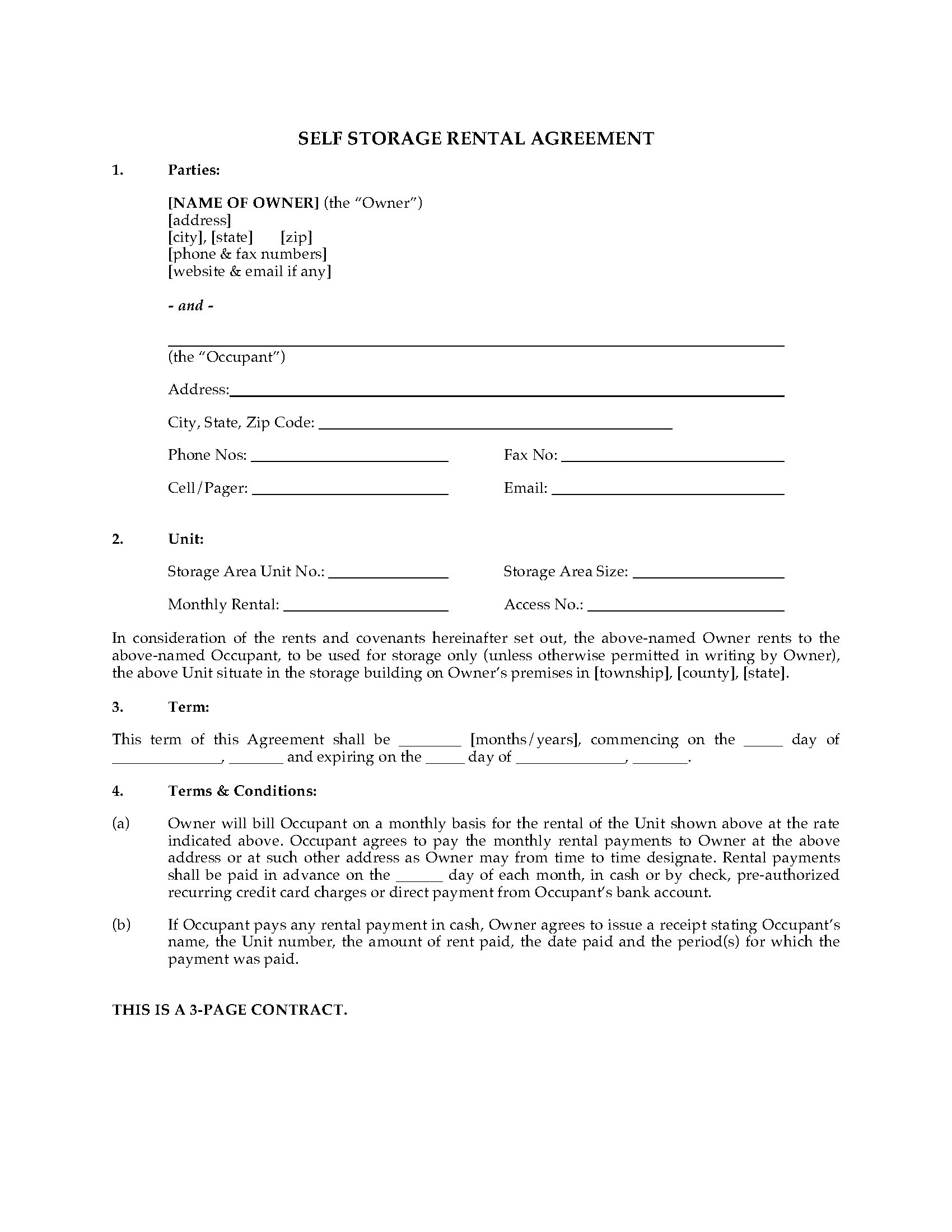 Usa Self Storage Unit Rental Agreement | Legal Forms And In Self Storage Business Plan Template