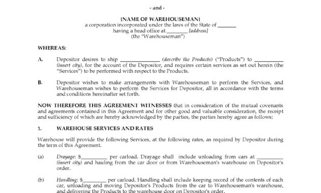 Usa Warehouse Storage Agreement With Manufacturer | Legal intended for Fresh Self Storage Business Plan Template